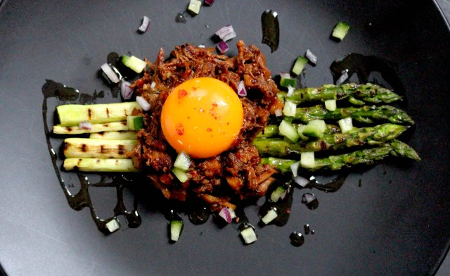 pulled pork ragu asparagus and egg yolk