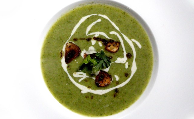 celeriac soup with stilton creme and cumin and garlic infused oil