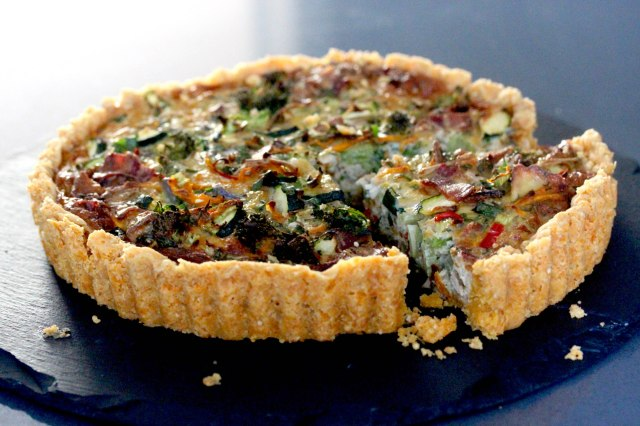 vegetable and bacon quiche
