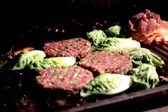 burgers with herbs and lettuce