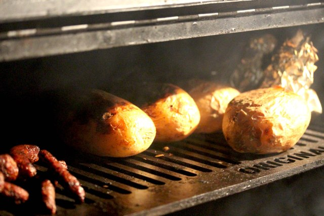 jacket potatoes on the barbecue