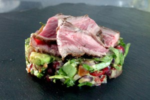 avocsteakado and watercress salsa with bavette