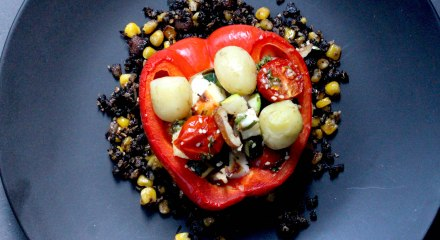 Stuffed pepper on black pudding crumble