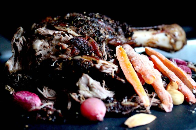 Roast lamb and salt baked vegetables