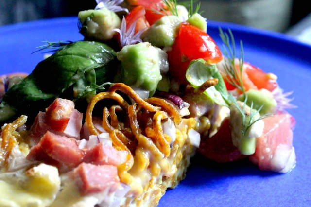 Spaghetti frittata with avocado and watermelon salad