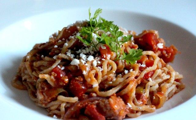 Cumin pasta with sausage ragu