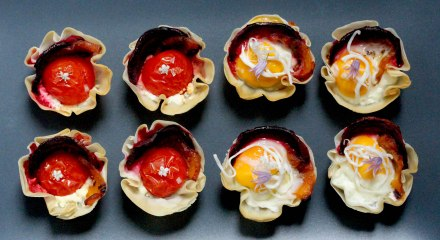 tomato and quails egg canapes