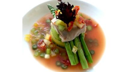 Smoked mackerel and tomato water -