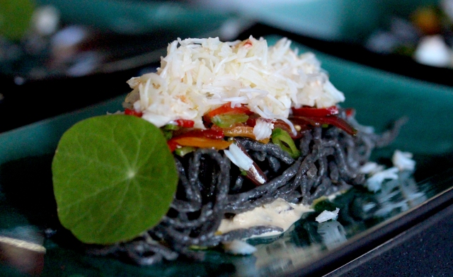 Squid Ink and Crab pasta with tomato salsa