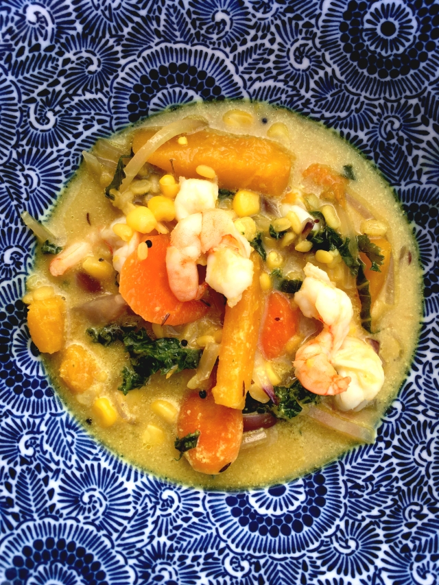 Prawn and vegetable curry