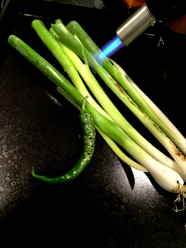blow torching green chilli