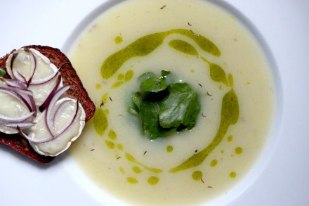Celeriac and cumin soup with watercress