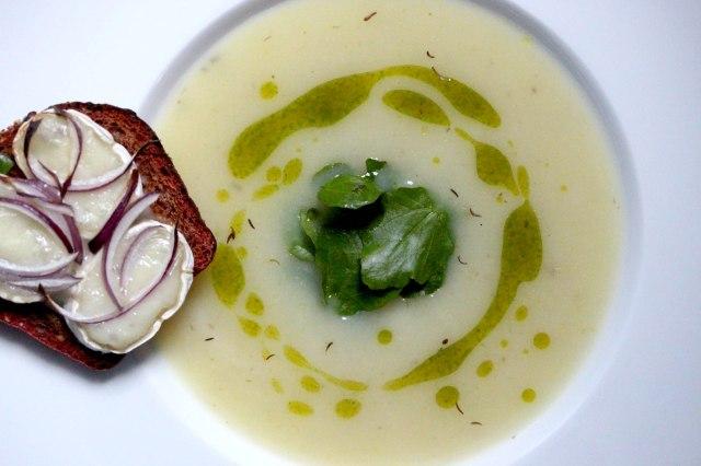 Celeriac and cumin soup with watercress