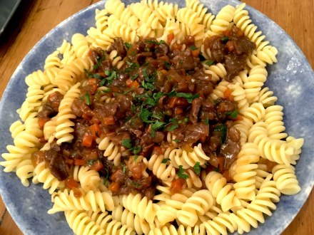 Venison stew and pasta