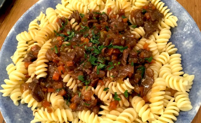 Venison stew and pasta