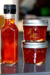 Blood orange vinegar pickled chilli