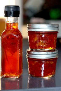 Blood orange vinegar pickled chilli