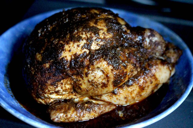 Berbere cooked whole chicken