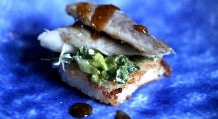 smoked mackerel with teriyaki sauce and crispy rice
