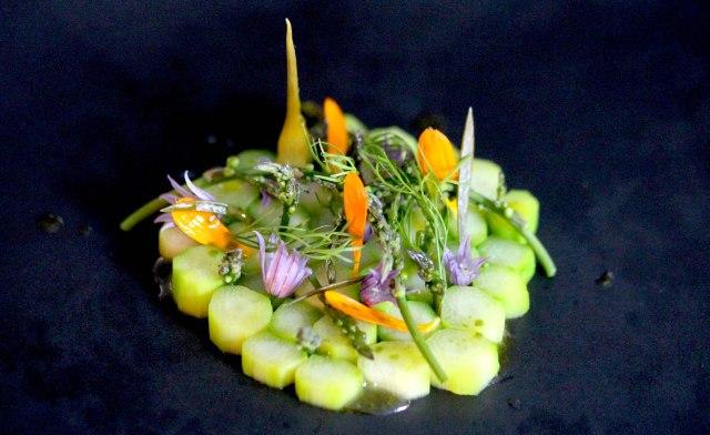 Foraged asparagus salad