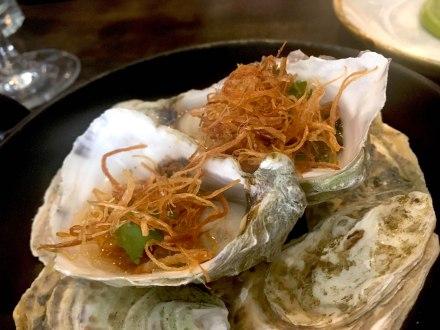 Jersey oyster, shallots & ginger vinaigrette