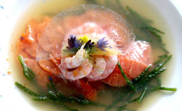Wild sea trout with clear ravioli
