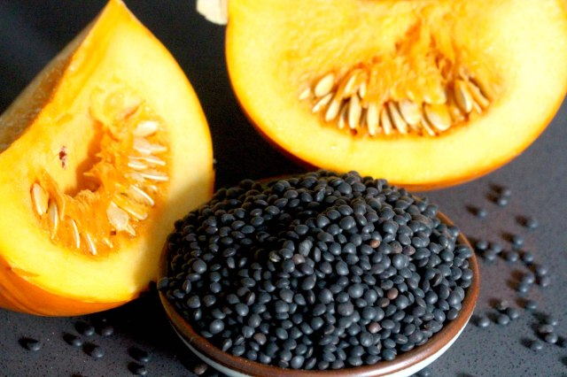 Beluga lentils and pumpkin