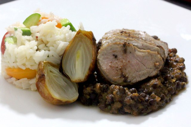 pumkin dal with roasted onions and pork tenderloin