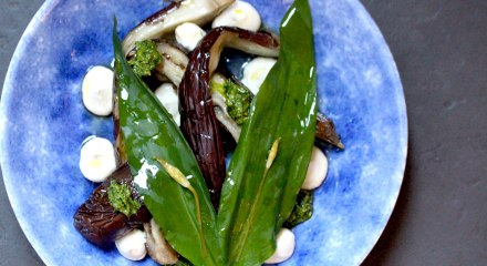 Baked aubergine with wild garlic