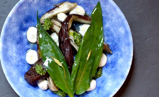 Baked aubergine with wild garlic