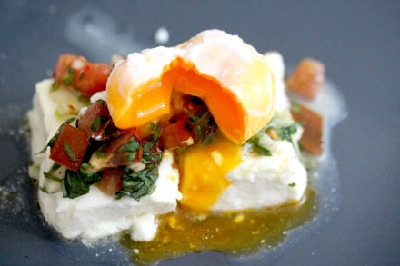 Baked feta cheese with poached egg