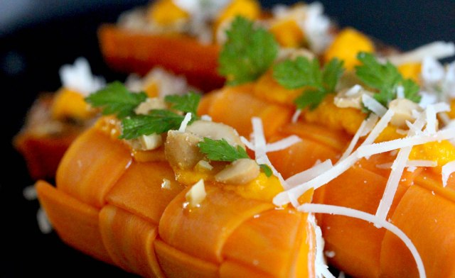 Pickled carrot lattice roll with cashew nuts