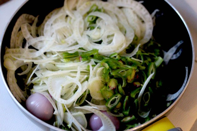 fennel, runner beans and shallot onion