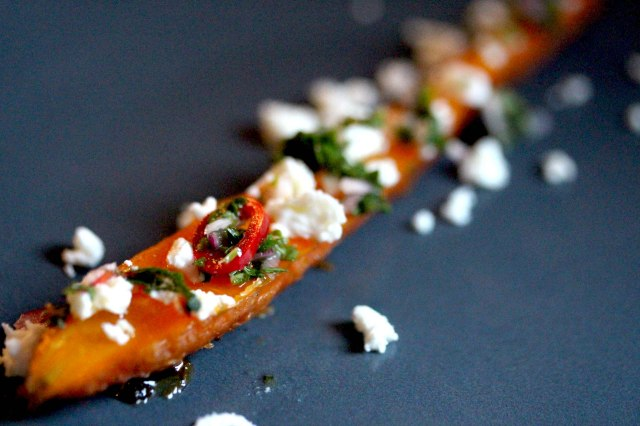 Roasted carrot with carrot top chimichurri