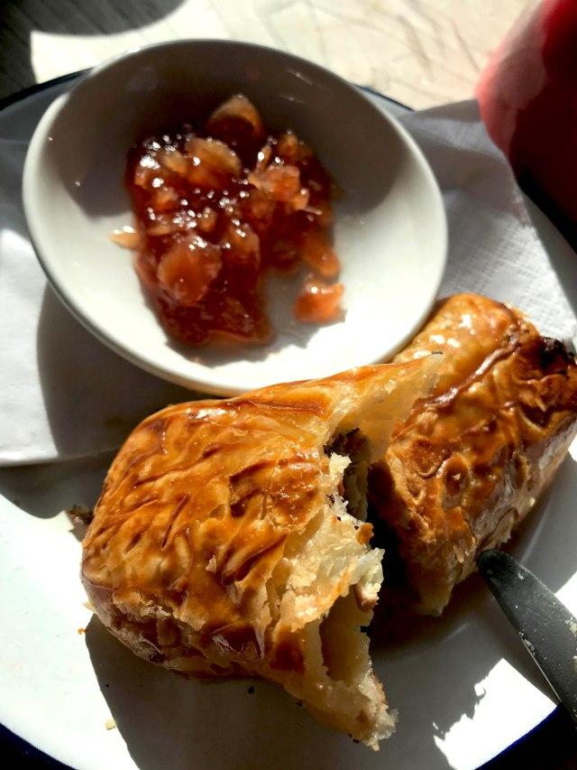 sausage roll and onion jam