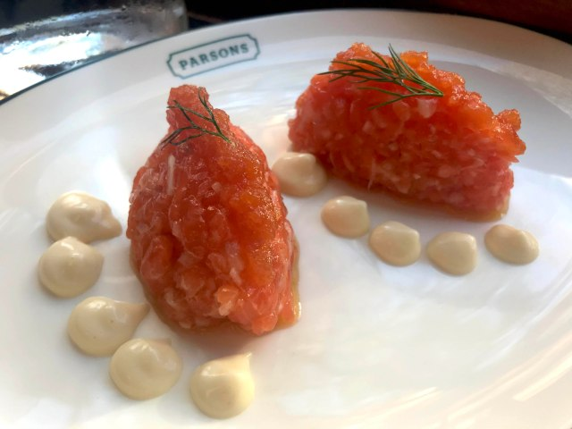Sea Trout tartar with bloody mary jelly