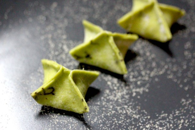 Leek and potato ravioli